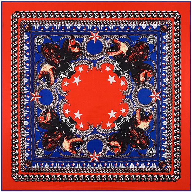 100 см * 100 см новое поступление 100% саржевые шелк италия анти-холод большая металлическая цепь пентаграмма кобольдов саржевого шарф B128
