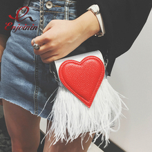 Buy New design fashion feathers red heart pu leather Party Casual female totes ladies handbag chain shoulder bag phone purse flap for $17.99 in AliExpress store