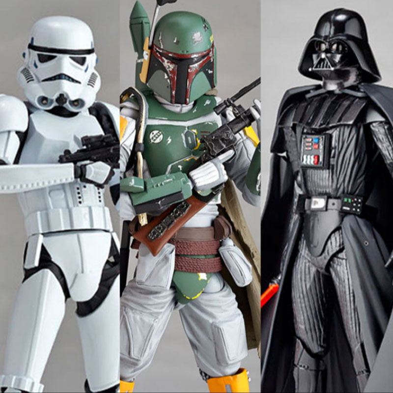 Newest Star Wars Figures toy Darth Vader 001 Stormtrooper 002 REVO 005 Boba Fett Action Figure Collection Model Gift kids toys