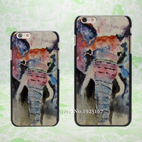 Watercolor Elephant Pattern hard black Case Cover for Apple iPhone 4 4s 5 5s 5c 6 6s 6 Plus 6s Plus