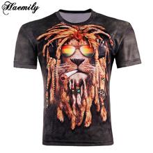 Hot Sale New Fashion Summer Men's 3D Printed T-shirts The Lion Head Printing Short Sleeve T Shirt Tops Plus Size MC015-I