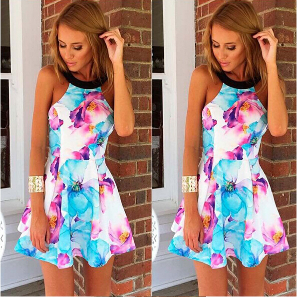 2016 new hot fashion print dress sexy floral print short sexy prompt summer cocktail(China (Mainland))