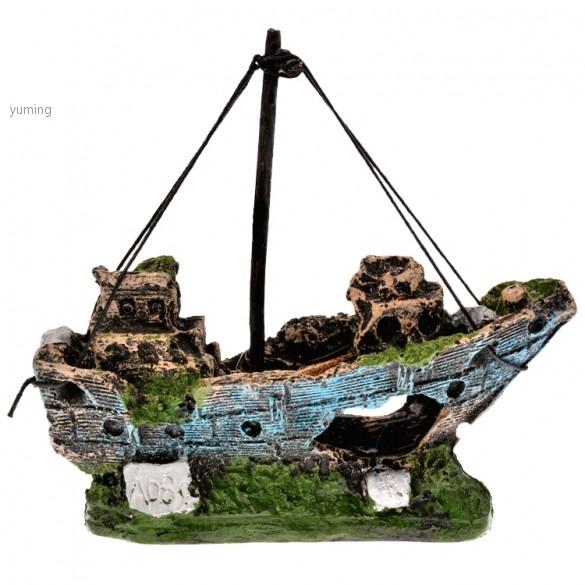 Aquarium ornament sunken steamboat fish sailing boat ship for How to ship fish