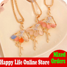 YP2337 High Quality Dancing Ballet Girl Fairy Crystal Rhinestone Necklaces & Pendants Womens Fashion Jewelry(China (Mainland))
