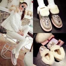 Nuevo 2015 caliente venta estilo dulce cuero genuino plataforma tacones bajos de nieve rhinestone de los cargadores calientes de trabajo zapatos de mujer(China (Mainland))