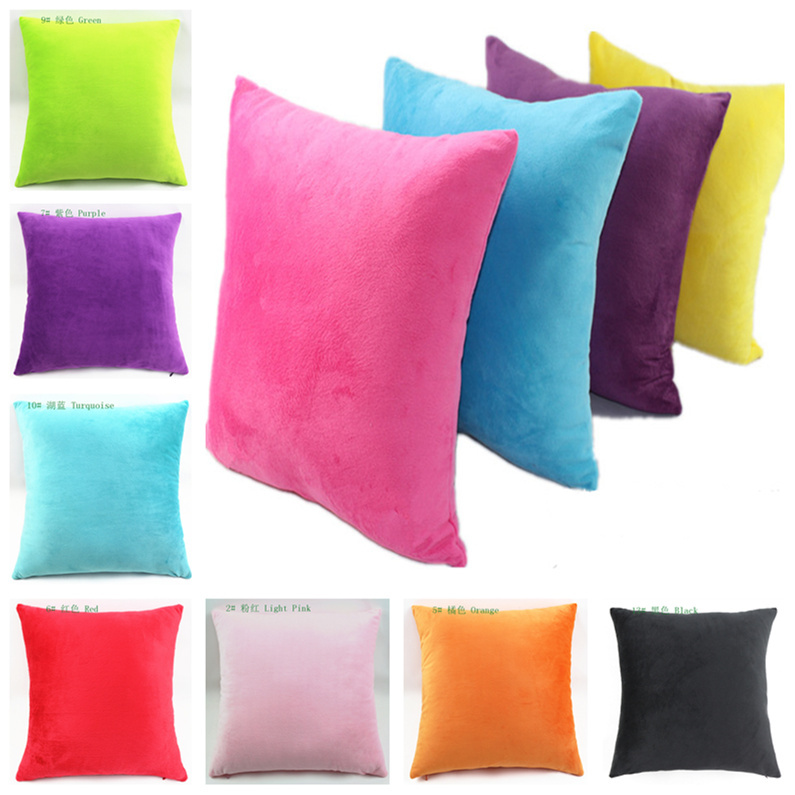 Cheap Hot Selling Candy Colored Two Sided Pure Super Soft Short Plush Decorative Pillows For Gift Sofa Car Cushions Home Decor(China (Mainland))