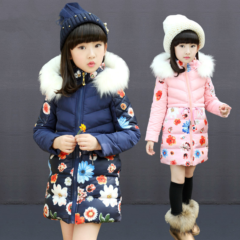3~14 years old New 2015 Children's Winter Jackets Cotton Padded Girls Coat Faux Fur Hood Outerwear Parka Retail 1PC
