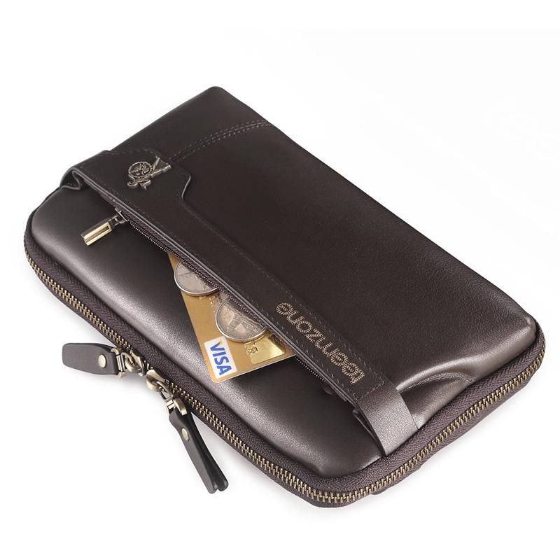 teemzone Men's Genuine Leather Business Day Clutch Wrist Bag Handbag Cash Card Case Checkbook Organizer Come Black Handbag S3216(China (Mainland))