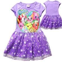 Retails Kid Girls Shopkins Dress 2016 Children Clothes Short Sleeve Baby Princess Dress Casual Girl Vest Dress for age 6-12T