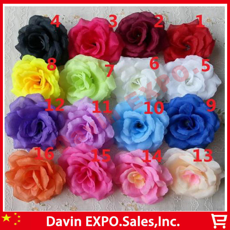 (Can Mix Color) NEW 50PCS Artificial Rose Silk Flower Heads Decoration for Wedding Party Banquet Decorative Flowers(China (Mainland))