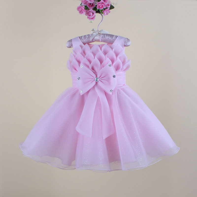 Fashion Elegant Baby Girl Party Frocks Big Bow Princess Dresses Kids Wedding Formal Wear(China (Mainland))