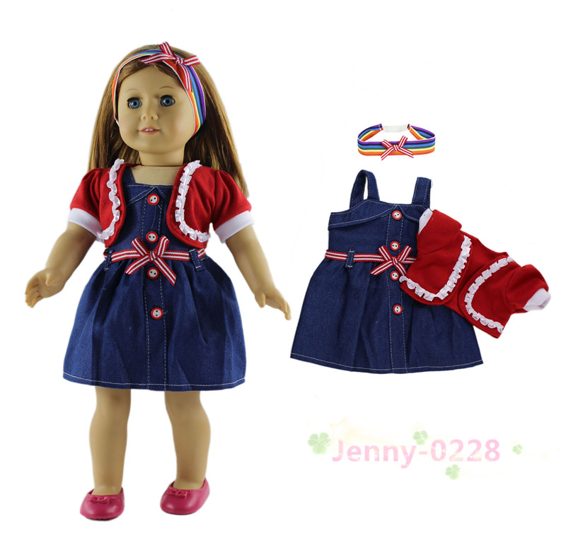 3in1 Set Doll Clothes Dress Coat Headwear Fashion Casual Wear Outfit For 18 American Girl Doll