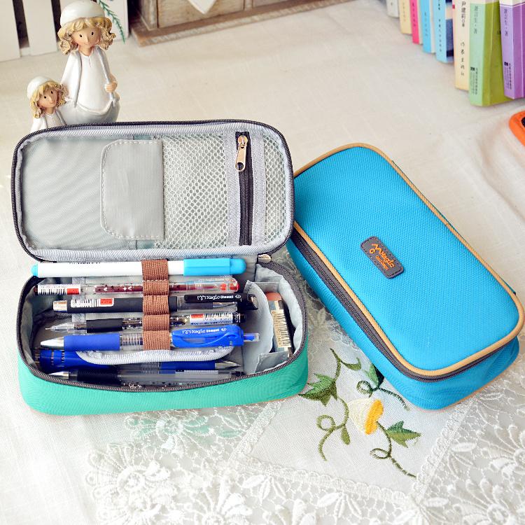 LZ 2014 Stationery vintage cute pencil case multifunctional big capacity pencil box waterproof nylon stationery pen bags