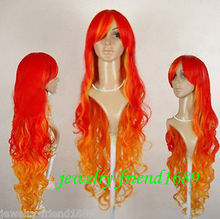 Wholesale& heat resistant LY free shipping>>>New Long waves red orange mixed cosplay Party Wig 100CM