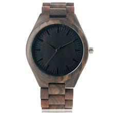 Reloj de pulsera de sándalo completo brazalete clásico de moda Vintage para hombre y mujer reloj de pulsera de cuarzo de madera analógica reloj de bambú cierre plegable(China)