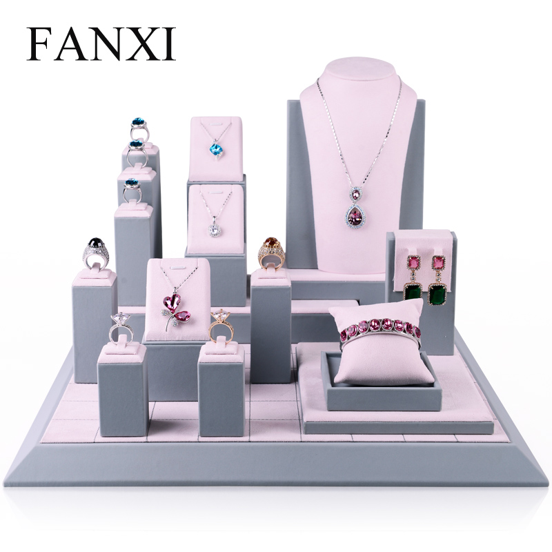 FANXI Combination Packages Pink Jewelry Display Kits FANXI  Ring Earrings Bracelet Necklace Bust  Jewelry Display Sets Organizer<br>