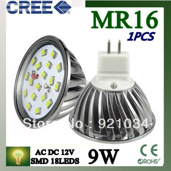 1PCS MR16 9W LED Light SMD 18 LEDS Lamp Bulb  Warm /Cool White AC DC12V FREE SHIIPPING