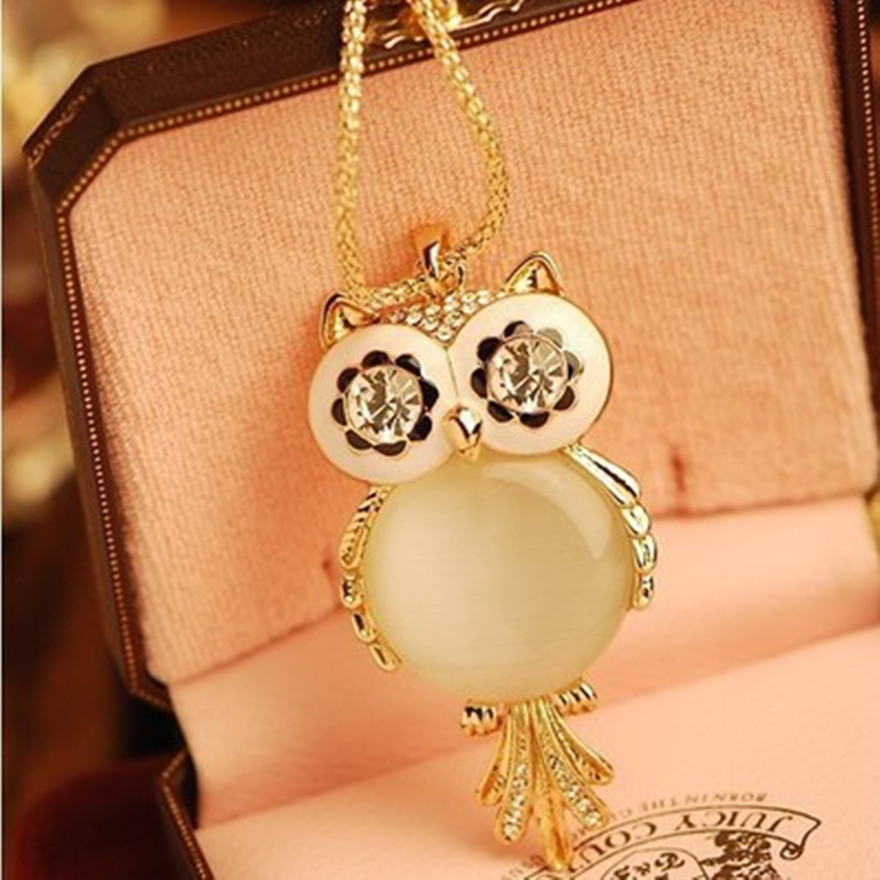 Hollow Carved Cute Owl Necklace Fashion Opal Stone Pendant Long Sweater chian Jewelry Charm cat 's-eye stone Necklaces For Women(China (Mainland))