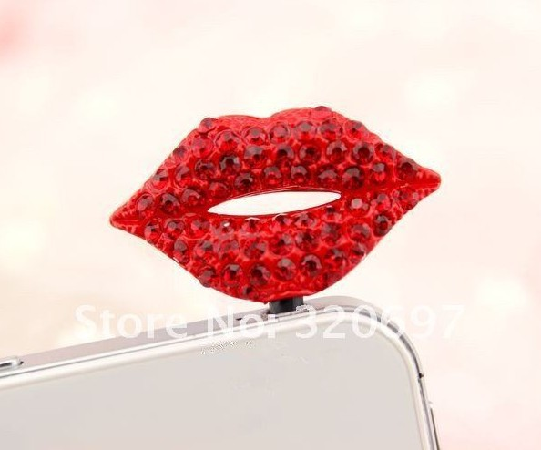 Free Shipping! 3.5mm Jewelry Sexy Red Lips Earphone Jack Plug/Dust Plug for iphone/ HTC/Samsung Cell phone(China (Mainland))