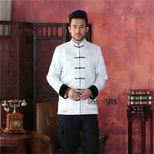 Discount Black White Men's Long sleeve Two-Face Jacket Kung Fu Coat Velour Tang Suit Size S M L XL XXL XXXL Free Shipping(China (Mainland))
