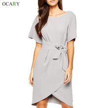 Elegant Bow Sashes Office Dress High-ended Chiffon Dress Fashion Spring Summer Casual Flare Sleeve Dress Plus Size XL Vestidos(China (Mainland))