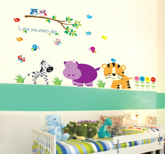 Free Shipping Home Decor Mural Vinyl Wall Sticker Zoo