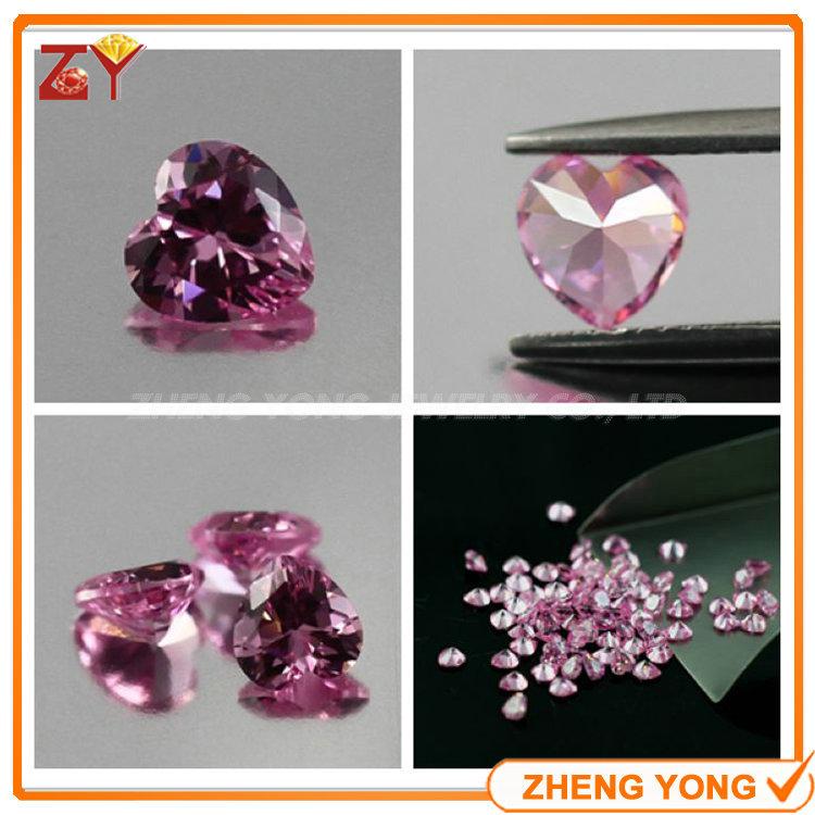 Beautiful 4*4mm Heart Shape Loose Pink CZ Synthetic Cubic Zirconia Gemstone(China (Mainland))