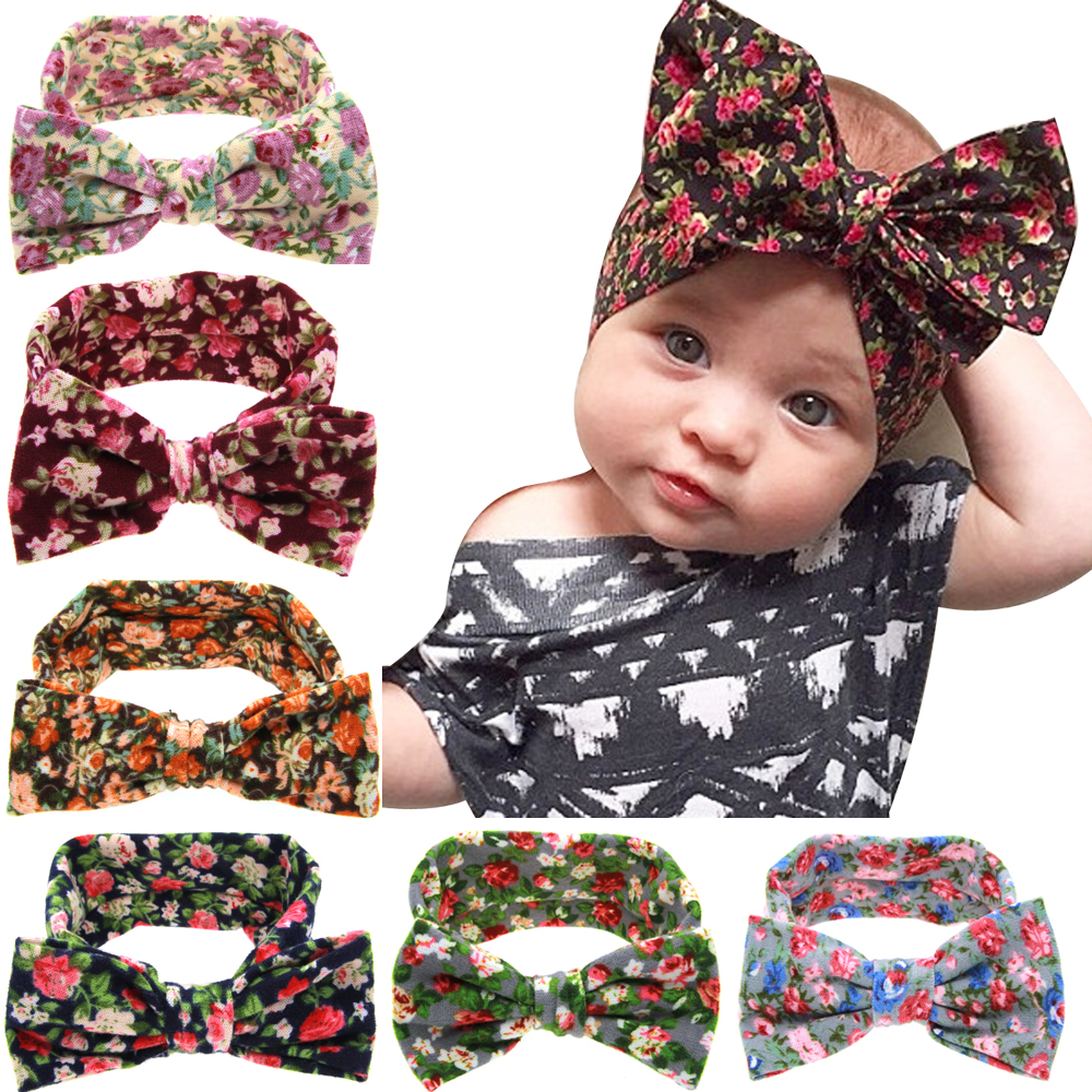 Baby Kids Girl Toddler Infant Flower Floral Hairband Turban Rabbit Bowknot Baby Headband Headwear Hair Band Accessories kt-038(China (Mainland))