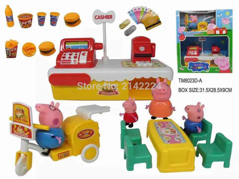 Peppa Pig Family Pig Lights and music Simulation Cash Register& Delivery Car Dining TableToys Kids Child Gifts With Original Box(China (Mainland))