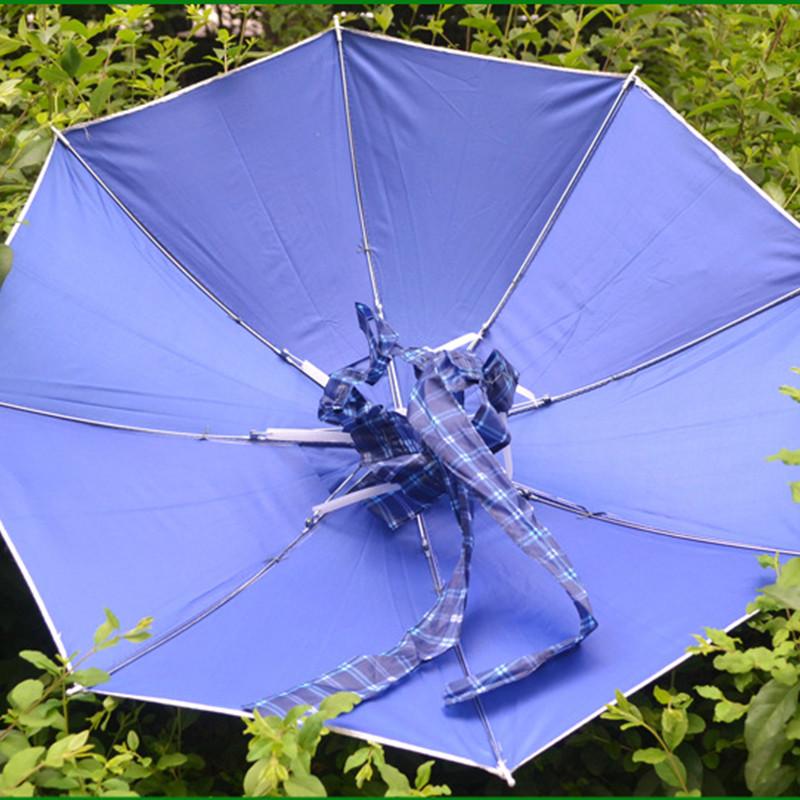 Foldable Umbrella Cap Hat Beach Fishing Hands Camping Sun Rain Headwear Brolly