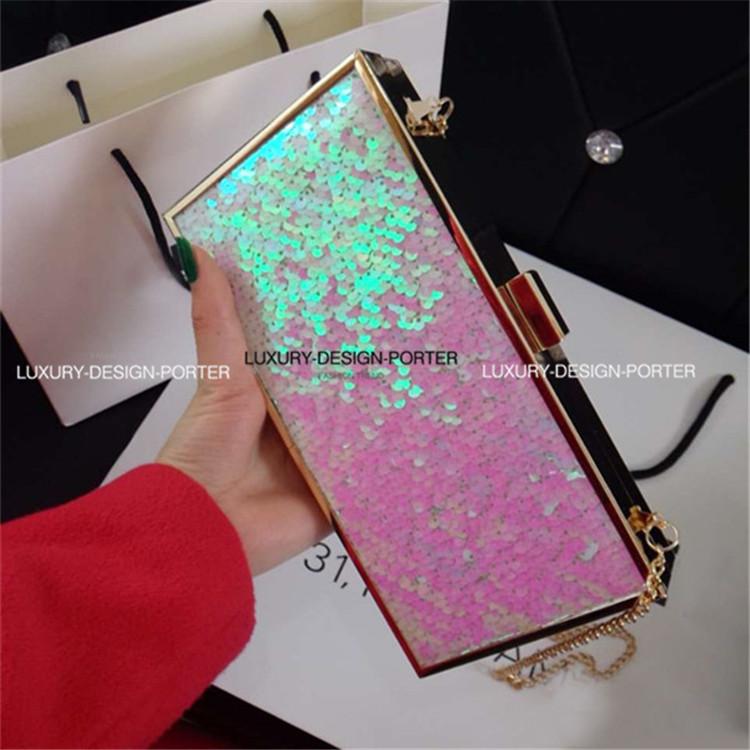 Designer Hologram Pink Sequin Handbag Hard case box Women Evening bag Clutch IT bag with Chain<br><br>Aliexpress