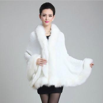 2 015 осенние и зимние новые женщины элегантный шуба вязаный воротник лиса плащ имитация искусственного меха кардиган шаль11 coulor