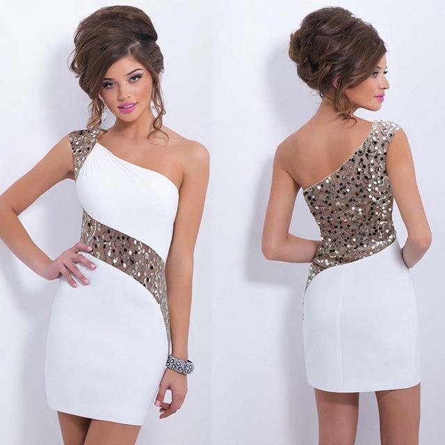 1 shoulder white dress makeup