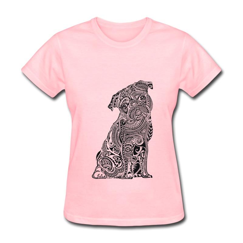 Unique Design Short Sleeve T Shirt Women Polynesian Pug