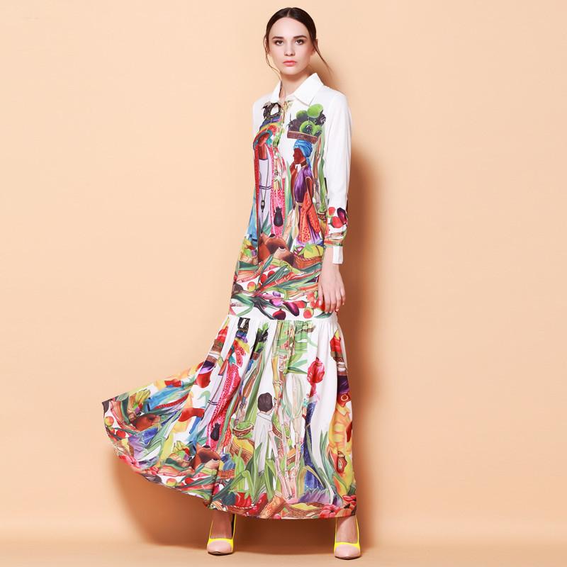 High Quality Newest Fashion Runway Turn Down Collar Maxi Dress Womens Long Sleeve Retro Art Printed Designer Long DressОдежда и ак�е��уары<br><br><br>Aliexpress