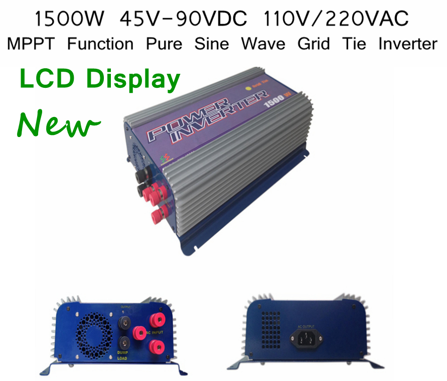 1500W 110V Output 45V-90VDC Small Pure Sine Wave Grid Tie Inverter LCD Display MPPT Function PV System SGPV(China (Mainland))
