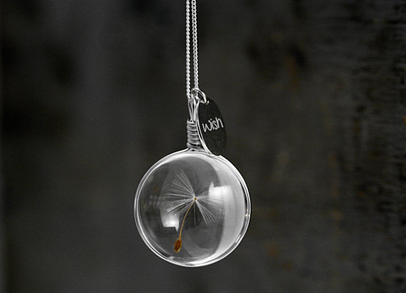 airy real dandelion necklace Make one wish Real dandelion seed in glass long necklace and WISH