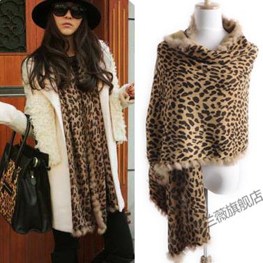 2012 Newest! Fashion star style winter thermal fashion leopard print rabbit fur women's scarf cape kwj16(China (Mainland))