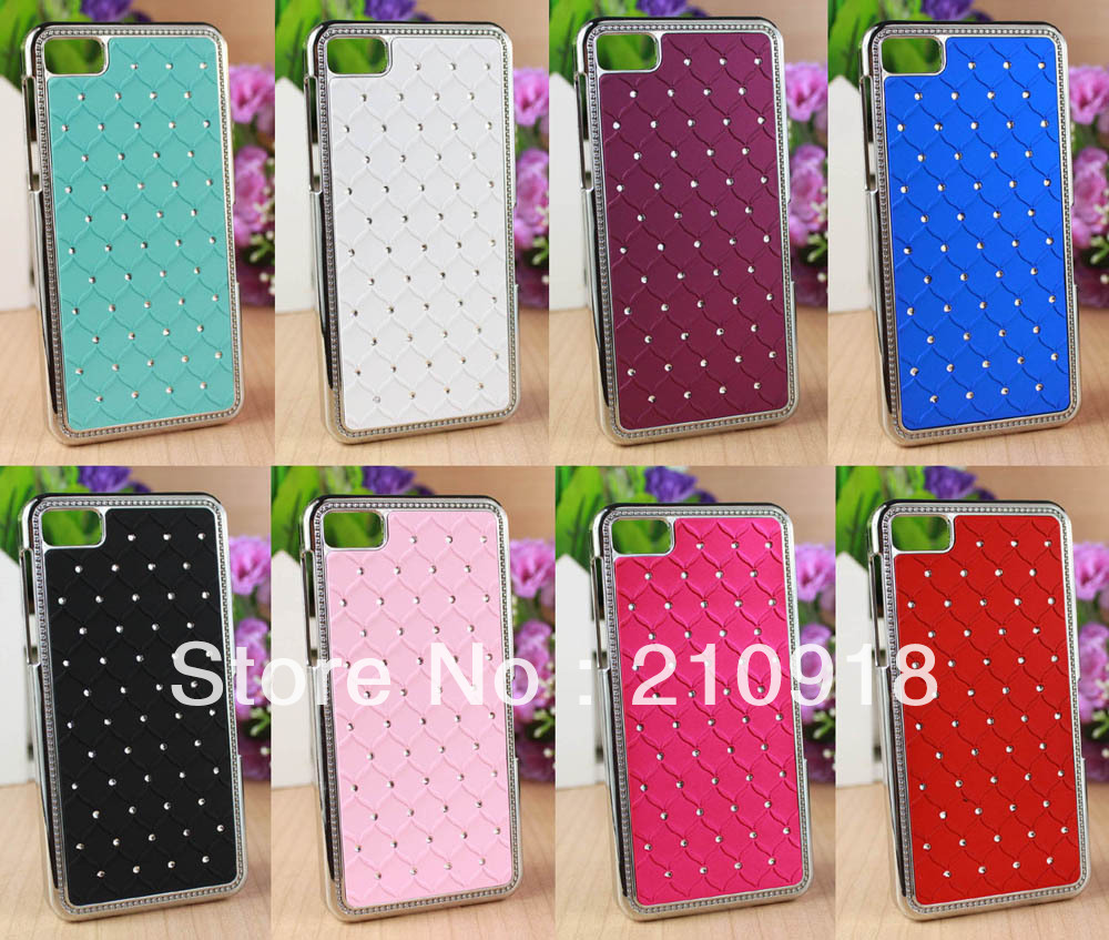 1 pc Deluxe Rhinestone Bling Chrome Hard Case Cover For Blackberry Z10,8 colors , free shipping(China (Mainland))