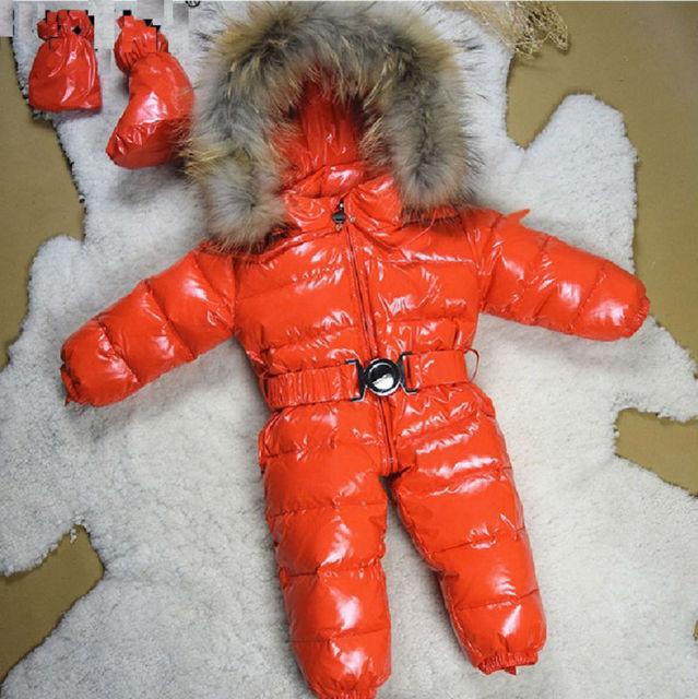 Зима 2016 ребенка детский зимний комбинезон девочки мальчики Новорожденных одежда набор принести конфеты цвет шин комбинезон теплый коричневый мех младенческой верхняя одежда комбинезоны