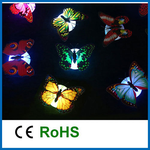 5pcs/lot multi-color 7 colors changing butterfly LED night light/lamp with suction pad decor for decoration or emergency use(China (Mainland))