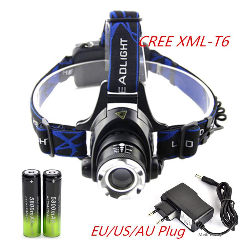 Гаджет  UltraFire 2000LM CREE XM-L T6 LED Headlamp Headlight 18650 flashlight head light lamp +2x Battery+charger None Свет и освещение