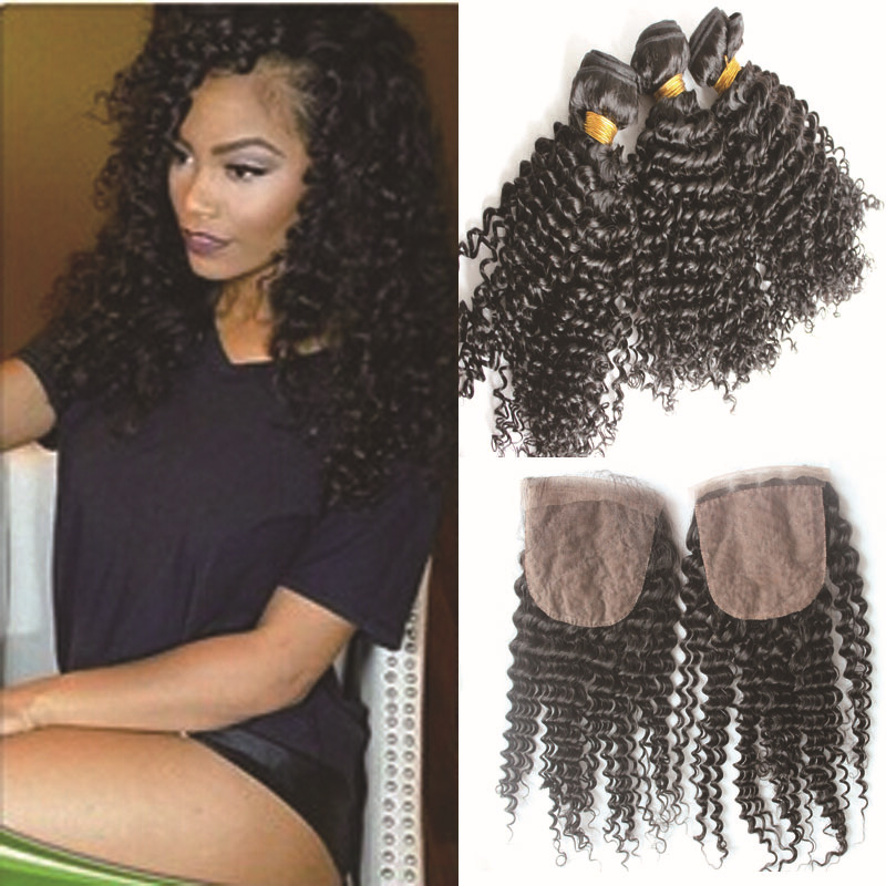 6a afro kinky hair weave with closure Vir-gin Cambodian remy hair natural black 8inch to 28inch short to long hair extensions(China (Mainland))