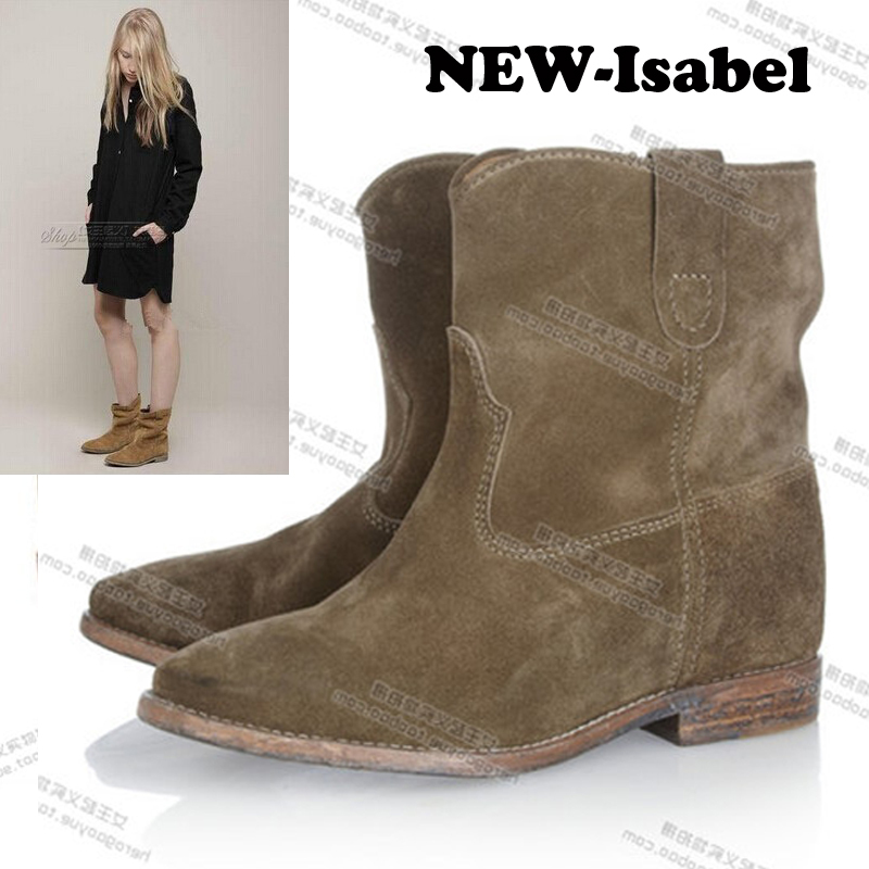 NEW Lady fashion woman genuine Nubuck leather motorcycle ankle style Leisure boots Spring Autumn hidden heel