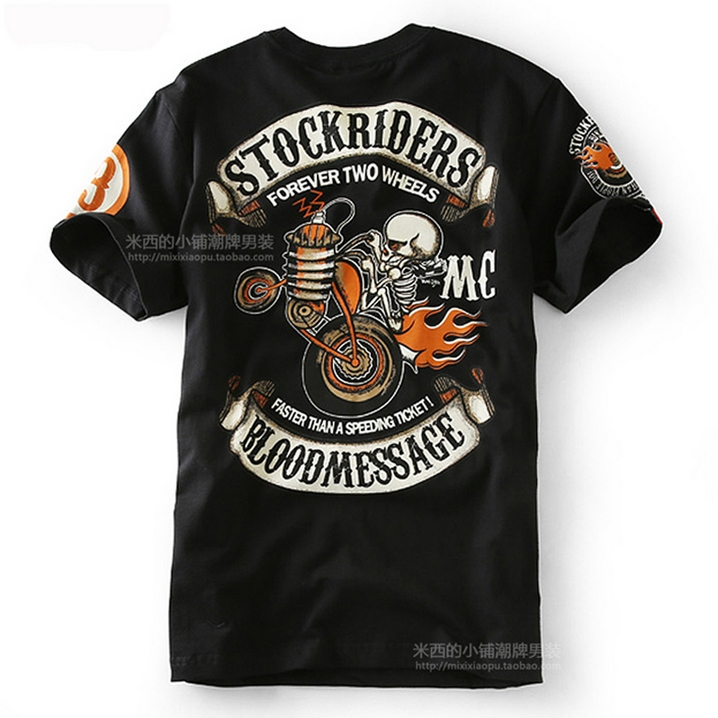 2016 Brand fashion Design Skull Printed Two Wheel Stock Rider Men Vintage Rock Roll Harley Punk Band T-shirt Plus Size Shirt 3XL(China (Mainland))