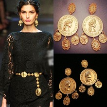 2015 Baroque Palace Big Catwalk Vintage Metal Coins Models Branch Shape Long Pale Gold Coin Pendant Earrings Jewelry Accessories(China (Mainland))