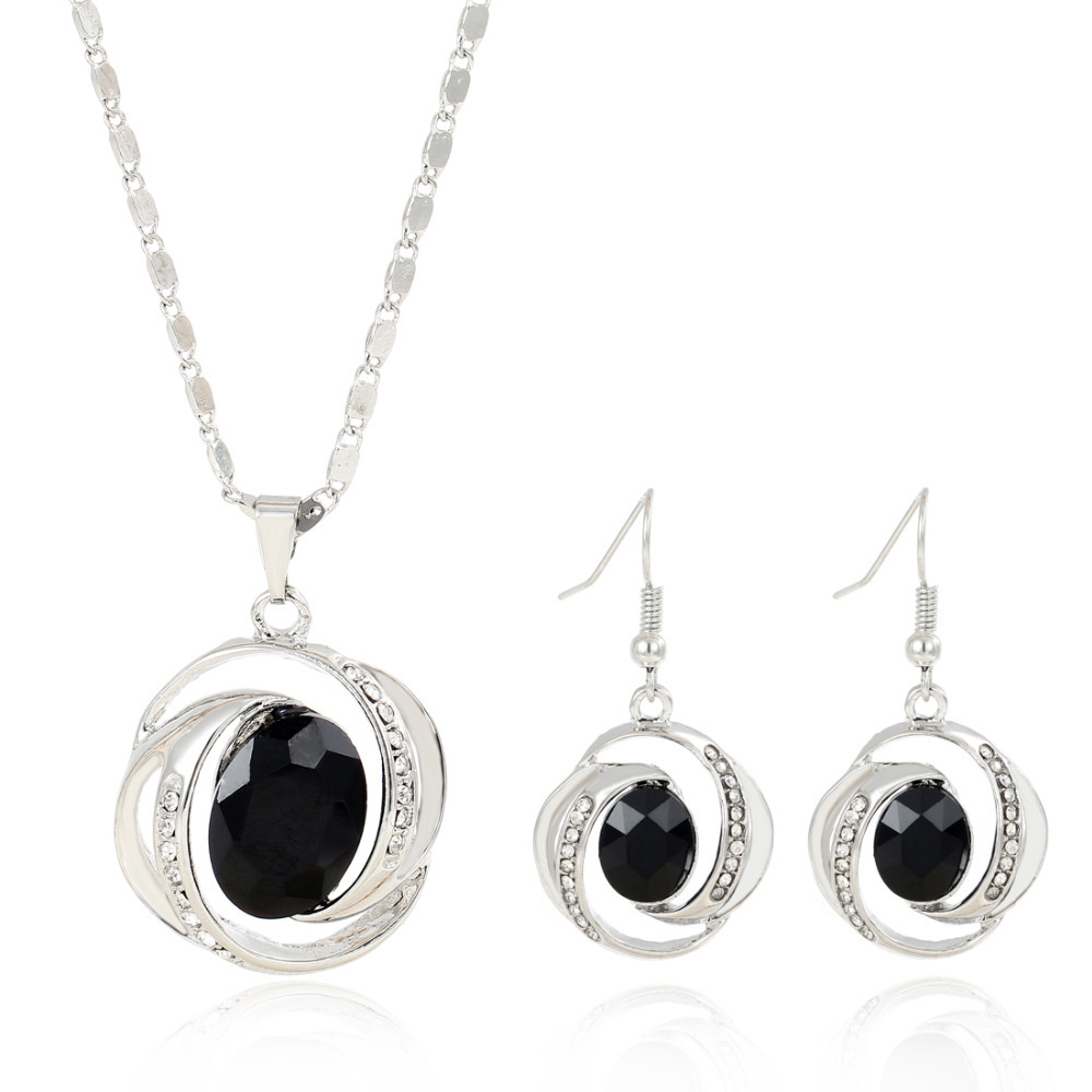 Brilliant Black Jewelry Set For Female Special Spiral Silver Inlayed Created Gemstone Pendant Accessory Fashion Jewelry(China (Mainland))