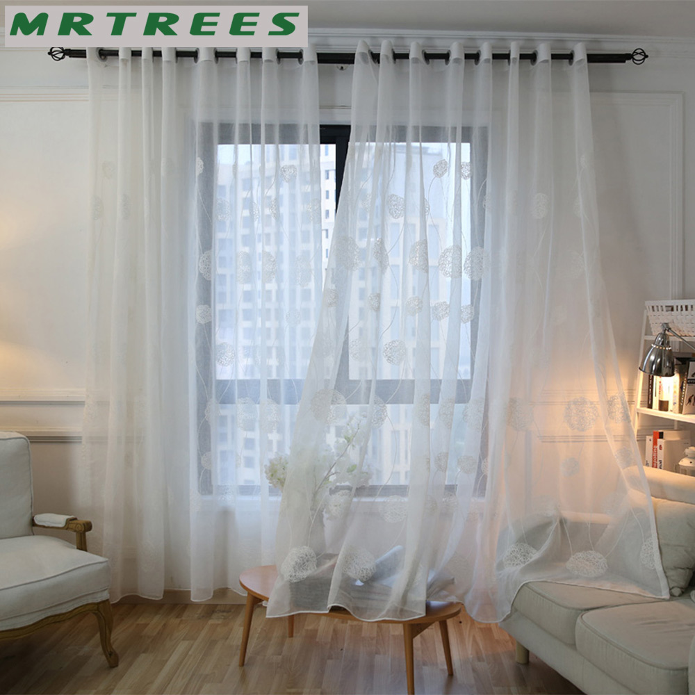 Cafe curtains for living room - Mrtrees White Embroidered Sheer Window Curtains Tulle Curtains For Living Room Bedroom Kitchen Voile Curtains For Window Drapes