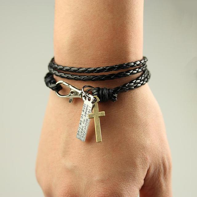 2015 распродажа. Мужской винтажный кожаный (плетёный) браслет с крестом. 70 см. длина. ...