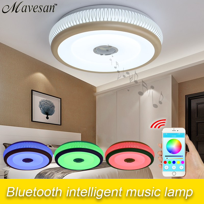 2016 New Dimmable bluetooth Music LED Ceiling Light with phone control Primitive arylic boby ceiling light fixture(China (Mainland))